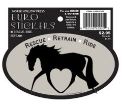 Euro Horse Oval Sticker: Rescue Reride Retrain Euro Sticker - Item # Rescue
