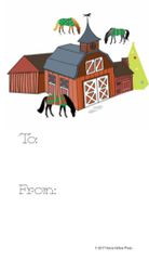 Gift Tag: Barn with Blanketed Horse in snow - Item # GT X 7