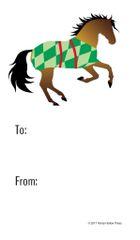 Gift Tag: Buckskin Horse in Diamond Green Blanket - Item # GT X 202