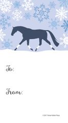 Gift Tag: Blue Snowy Scene with Trotting Horse in Wraps - Item # GT X 204