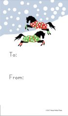 Gift Tags in BULK: Frolicking Polka Dot Blanketed Horses in Snow - Item # GT X 2 BULK