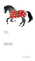Gift Tags in BULK: Gray Horse in Polka Dot Blanket - Item # GT X 200 BULK