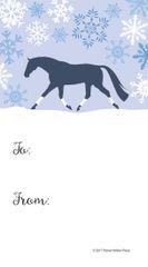 Gift Tags in BULK: Blue Snowy Scene with Trotting Horse White Wraps - Item # GT X 204 BULK