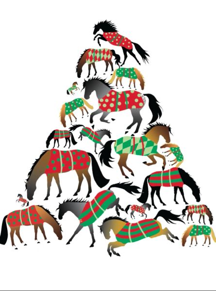 Christmas Horse Cartoon.Christmas Card A Christmas Tree Of Blanketed Horses Item Gc X 17