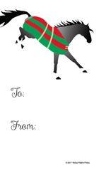 Gift Tags in BULK: Bucking Gray Horse in Striped Blanket - Item # GT X 201 BULK