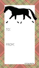 Gift Tags in BULK: Trotting Horse with Christmas Plaid - Item # GT X 26 BULK
