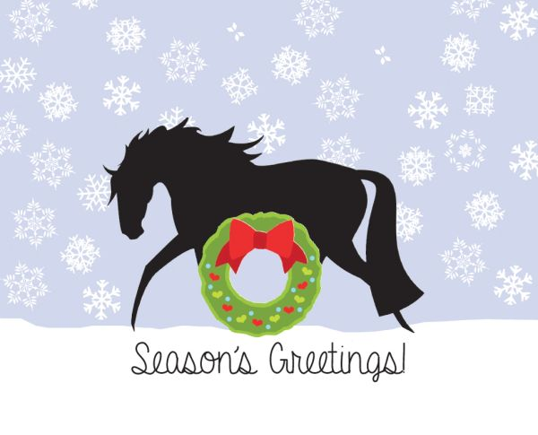 Christmas Horse Pictures.Christmas Card Horse With Heart And Wreath Item Gc X 23