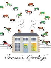 Christmas Card: Mansion with Blanketed Horses - Item# GC X 16