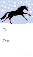 Gift Tag: Galloping Green Horse with Red Wraps in Snow - Item # GT X 206