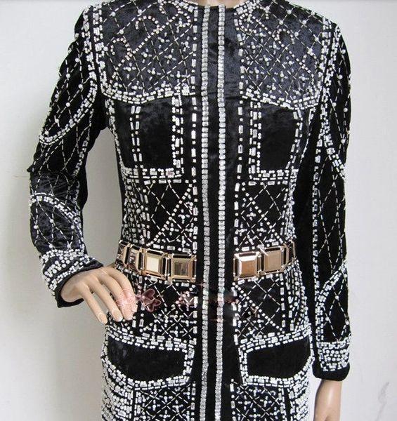 174 Runway Velvet Beaded Crystal Blazer Jacket Size S