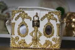 SOLD! 1498 Spring 2017 Designer Inspired Baroque Victorian Mirrow Trunk Handbag