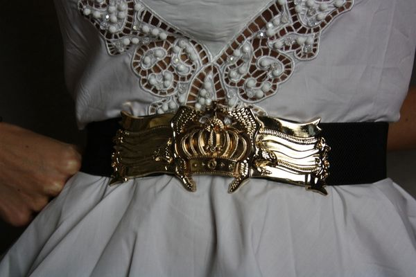 1546 Massive Gold Crown Buckle Waist Belt Large Size