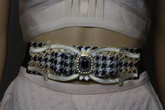 1582 Houndstooth Bow Vintage Style Waist Belt