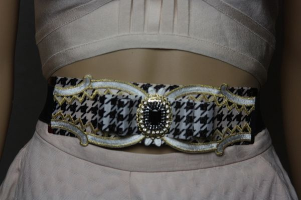 SOLD! 1582 Houndstooth Bow Vintage Style Waist Belt