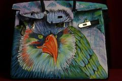 SOLD! 1673 Hand Painted Designer Inspired PU Leather Eagle Handbag