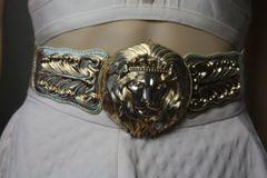 SOLD! 1674 Baroque Massive Gold Tone Lion Head Waist Belt