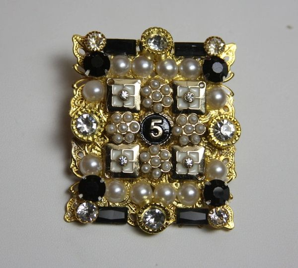 SOLD! 1688 Madam Coco Number 5 Huge Crystal Pearl Brooch