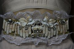 SOLD! 1827 Baroque Crown Crystal Cherub Theater Lace Waist Belt