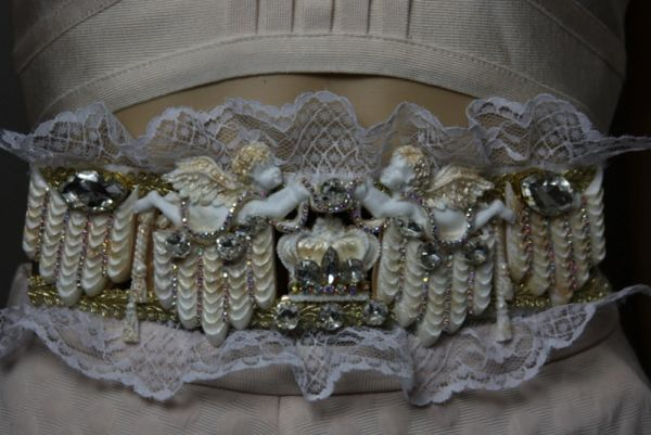 SOLD! 1827 Baroque Crown Crystal Cherub Theater Lace Waist Belt