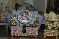 SOLD!1868 Victorian Vintage Style Hand Painted Fairy Dove Crossbody Handbag Purse
