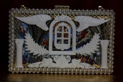 1913 Roman Renaissance Window Winged Two Sides Clutch