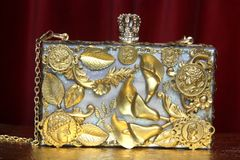2501 Roman Coin Lilly Calla Pearl Clutch Purse