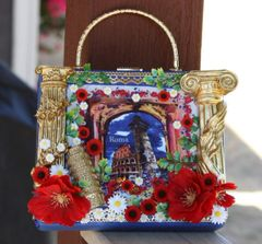 SOLD! 2126 Italian Print Rome column Poppy Embellished Handbag