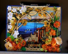1652 Italian Print Flower Embellished Stunning Handbag Purse