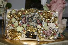 SOLD! 1480 Tapestry Victorian Flower Embellished Handbag