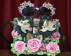 SOLD! 2819 Total Baroque Hand Painted Cherubs Roses Trunk Handbag