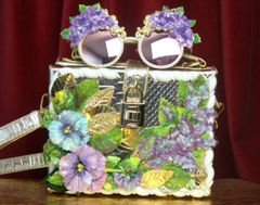 2821 Hand Painted Flowers Lilac Gold Snake Skin Trunk Handbag