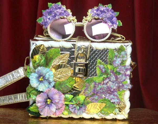 SOLD! 2821 Hand Painted Flowers Lilac Gold Snake Skin Trunk Handbag