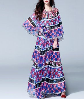 38 Flowing Coco Print Cape Summer Maxi Dress
