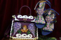 SOLD! 2917 Designer Inspired Hand Painted Flower Embellished Sandals Heeels Size US8