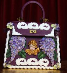 SOLD! 2918 Stunning Baroque Genuine Leather Vivid Hand Painted Cherub Putti Lilac Handbag