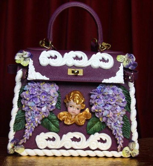SOLD! 2918 Stunning Baroque Genuine Leather Vivid Hand Painted Cherub Putti Lilac Handbag
