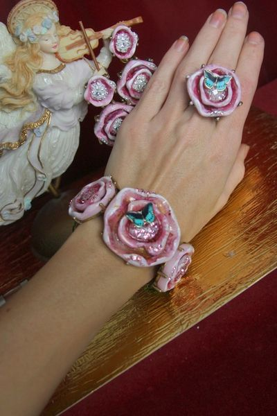 3034 Set Of Baroque Hand Painted Roses Enamel Butterfly Cuff+ Earrings+ Ring