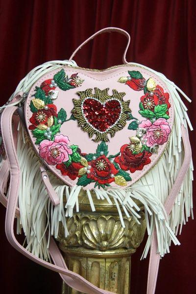 SOLD! 3131 Baroque Heart Shape Applique White Fringe Handbag Crossbody