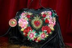 SOLD! 3132 Black Baroque Heart Shape Applique White Fringe Handbag Crossbody