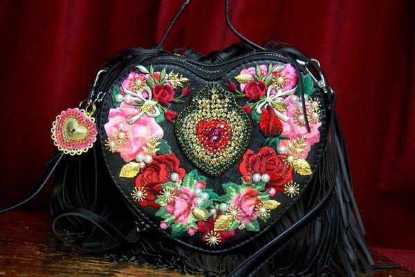 SOLD! 3132 Black Baroque Heart Shape Applique White Fringe Handbag Crossbody