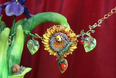 3145 Baroque Crystal Sunflower Hand Painted Leaf Caterpillar Bracelet