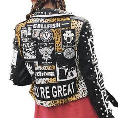 3208 Grunge New-York Style Leopard Print Leather-like Moto Jacket