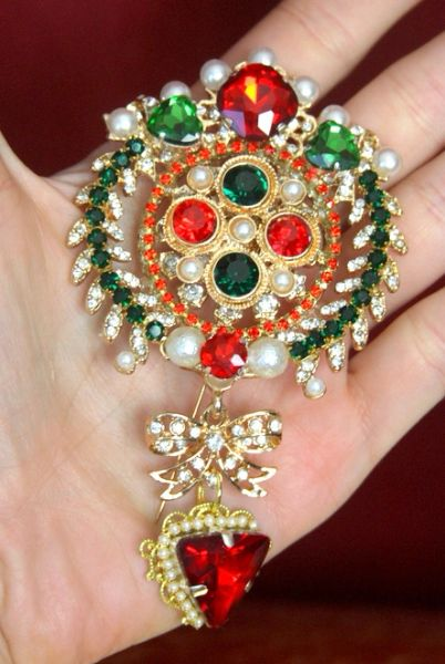 3280 Byzantine Madam Coco Huge Crystal Brooch