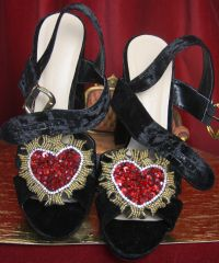 SOLD! 3298 Baroque Velvet Heart Applique Embellished Sandals Us10