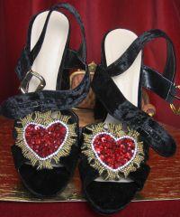 SOLD! 3298 Baroque Velvet Heart Applique Embellished Sandals Us10