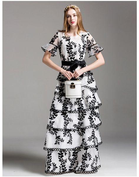 af9f72c7c4 3346 Designer Ruffle Cake Black White Gown Maxi Dress | Zibellini ...