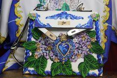 3357 Baroque Hand Painted Hydrangea Sacred Heart Tote Crossbody Handbag