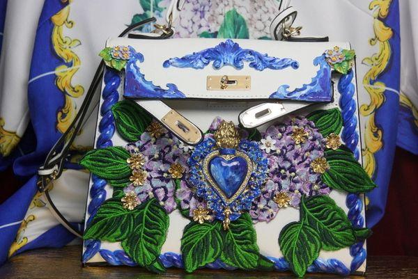 SOLD! 3357 Baroque Hand Painted Hydrangea Sacred Heart Tote Crossbody Handbag