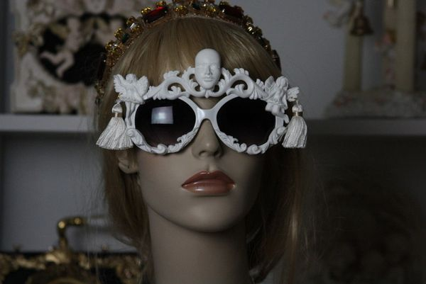 SOLD!47 White Architect Art Nouveau Teatro di Pupi Unusual Embellished Sunglasses