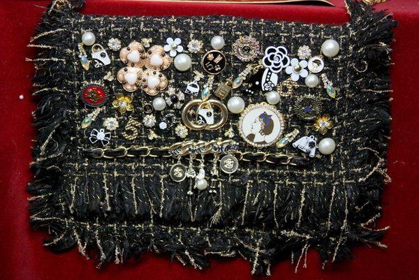 SOLD! 3441 Madam Coco Tweed Embellished Brooches Crossbody Handbag